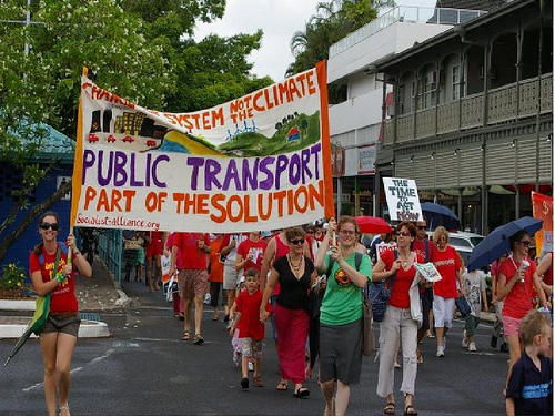 Protesting for better public transport in Cairns