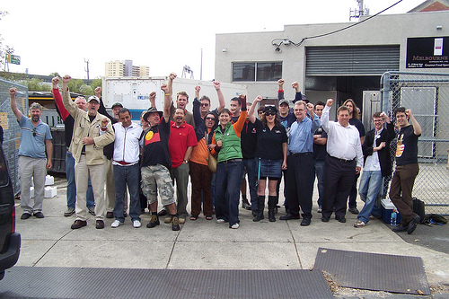 Melbourne Socialist Alliance members supporting an AMWU picket