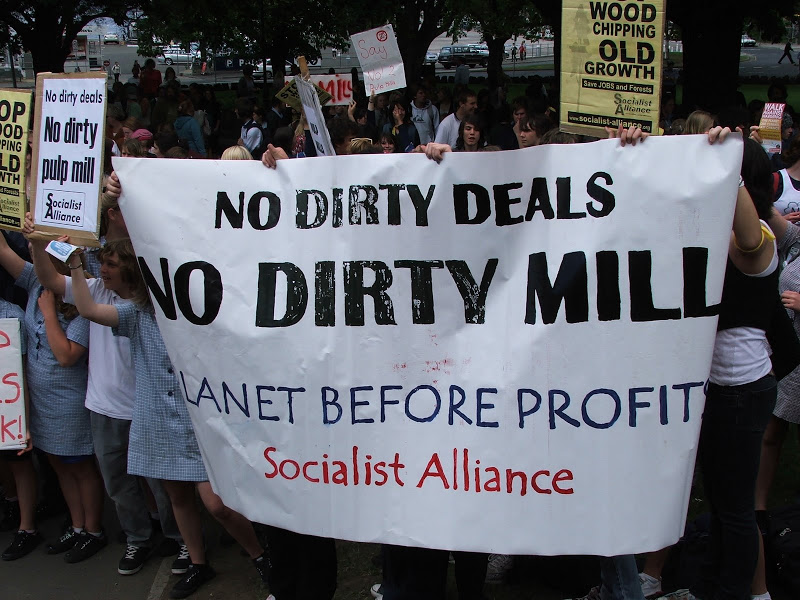 Pulp mill protest in Tasmania