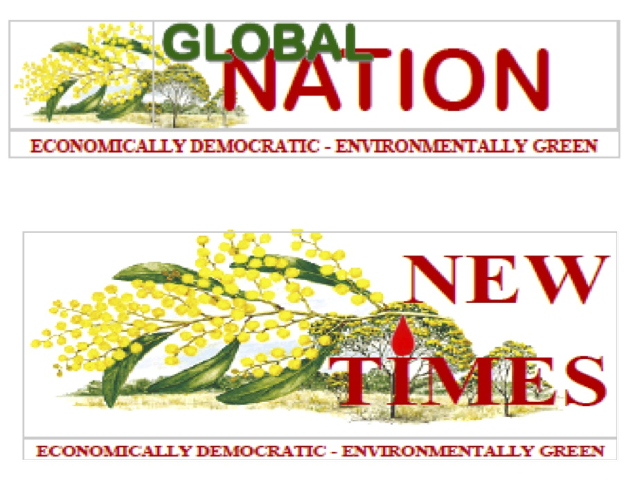 Draft logos for Global Nation and New Times by Dave Kerin