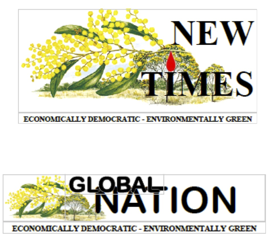 Draft logos for Global Nation and New Times Number 2 by Dave Kerin