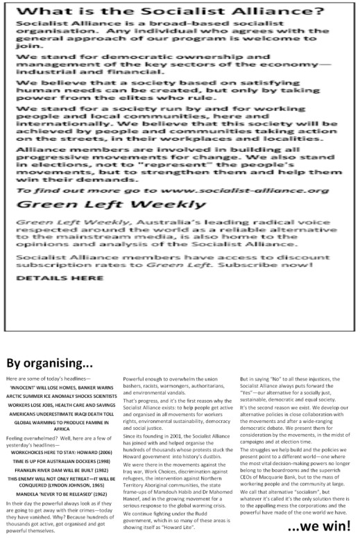 A Socialist Alliance recruiment leaflet draft