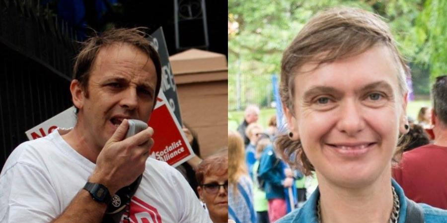 Socialist Alliance candidates Andrew Chuter and Rachel Evans