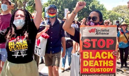 Protest against Black deaths in custody in Sydney on December 7. Photo: Zebedee Parkes