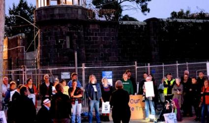 Sue Bolton campaigning in 2016 to save Pentridge Prison's social heritage.