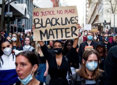 Black Lives Matter protest in Sydney. Photo: Zebedee Parkes.