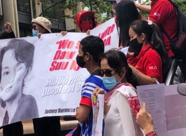 Sydney rally against the coup in Burma/Myanmar, February 3 2021