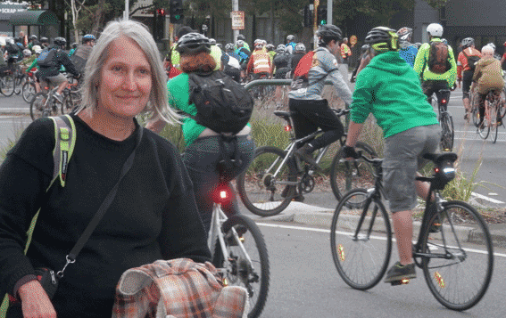 Sue Bolton protesting for protection of cyclists